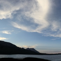 This is a panoramic of Fallen Leaf Lake and Mt Tallace on the east side of the aforementioned lake. Mt. Tallace doesn't have snow in this photo.