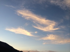 Here are some clouds with the sun setting on them and this is looking to the northwest of Fallen Leaf Lake.