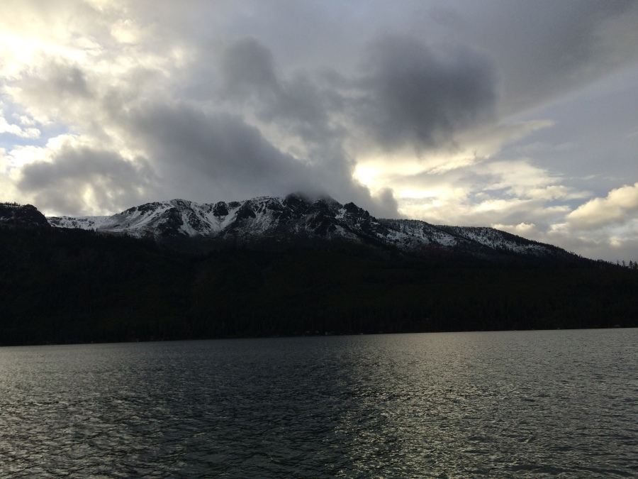 Here is a photo of Mt Tallac at Fallen Leaf Lake with snow.