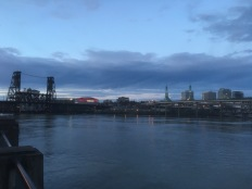 The Willamette River, the Steel Bridge and the Rose Quarter along with the Convention Center with a slightly different angle.