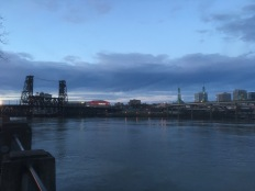 The Willamette River, the Steel Bridge and the Rose Quarter along with the Convention Center.