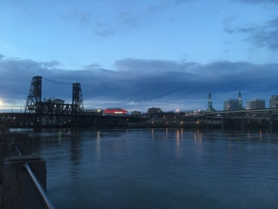 The Willamette River, the Steel Bridge and the Rose Quarter along with the Convention Center. This is a landscape of two previous photos.